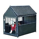 Tangkula Dog House Wicker Rattan Outdoor Indoor Dog Crate Log Cabin Pet House