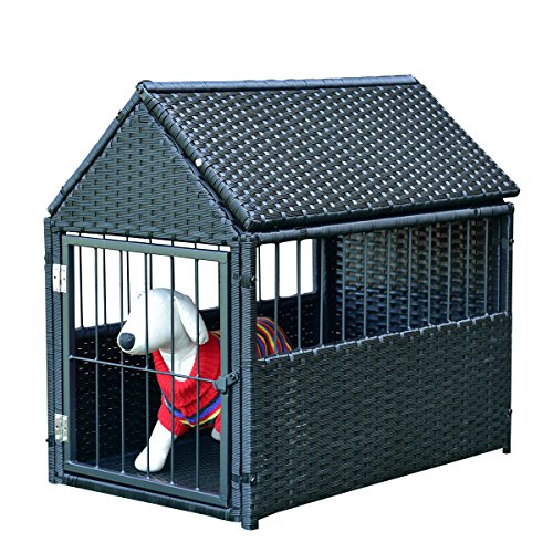 Tangkula Dog House Wicker Rattan Outdoor Indoor Dog Crate Log Cabin Pet House (Furniture Outdoor Crate)