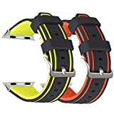 Compatible Apple Watch Band 38/40MM 42/44MM, UMAXGET Silicone Sport Replacement Wristband for Apple Watch Series 4/3/2/1, Sport Edition, Women Men Pack 2