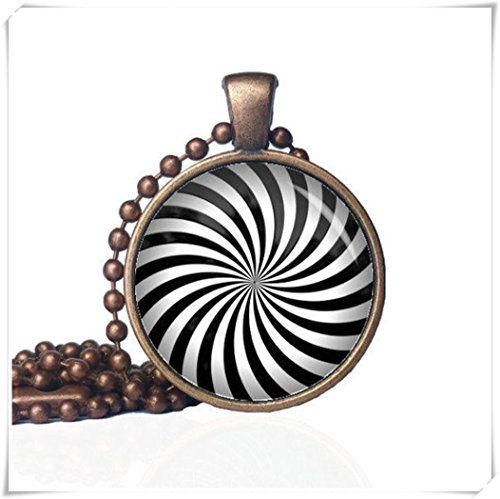 no see long time Candy Striped Necklace - Optical Illusion Necklace - Swirl Necklace - Geometric - Unusual Gift - Necklace Gift -