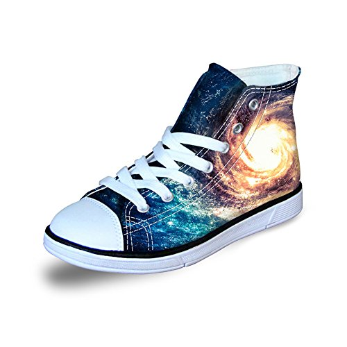 HUGS IDEA Galaxy Star Print Fashion Kids Lace Up Sneaker High-top Canvas Shoes for Girls Boys