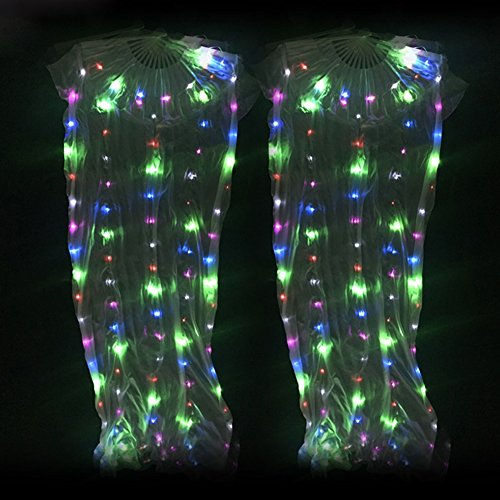 Wgwioo Belly Dance Silk Fan Veil LED Light Party Stage Props For Adult 1.65M,Colorful,2Pcs