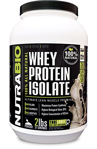 NutraBio Natural 100% Whey Protein Isolate - Sweet…
