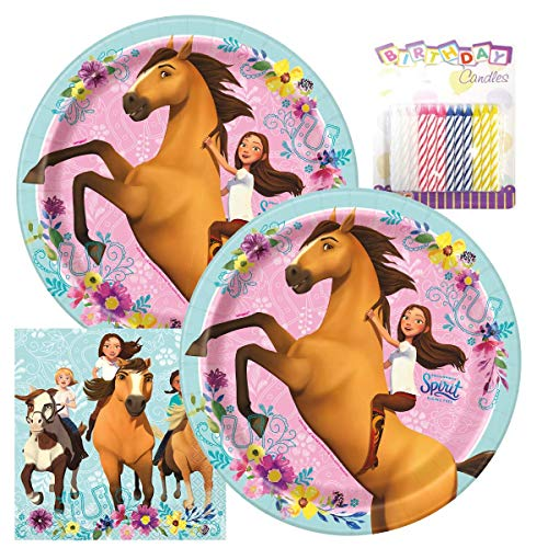 Spirit Party Pack - Includes Paper Plates & Luncheon Napkins Plus 24 Birthday Candles - Serves 16