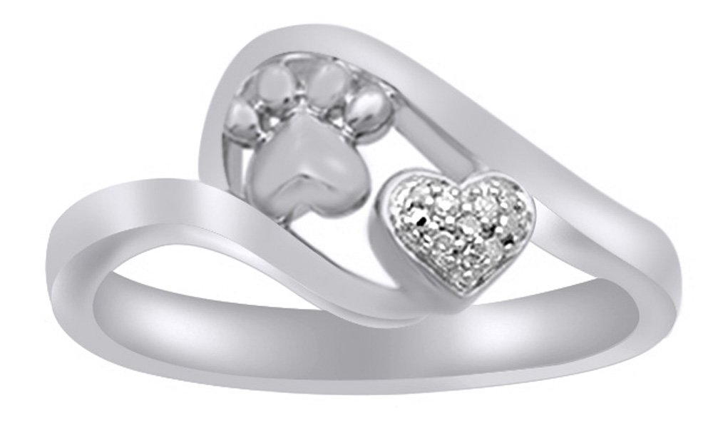 White Natural Diamond Accent Paw Print Heart Ring in 14k White Gold Over Sterling Silver