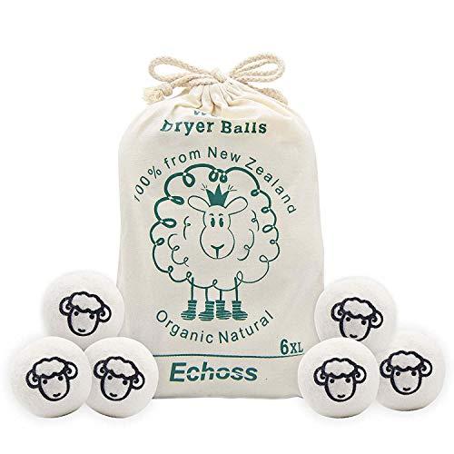 Echoss Wool Dryer Balls Organic (6 Pack XL) 100% Pure New Zealand Wool,...