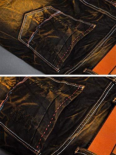 Degli Uomini Classiche Lavati Annata Modo Nero Dei Afflitta Ragazzi Della Strappata Jeans Di Ricamati Neri Rappezzatura BxqwASv