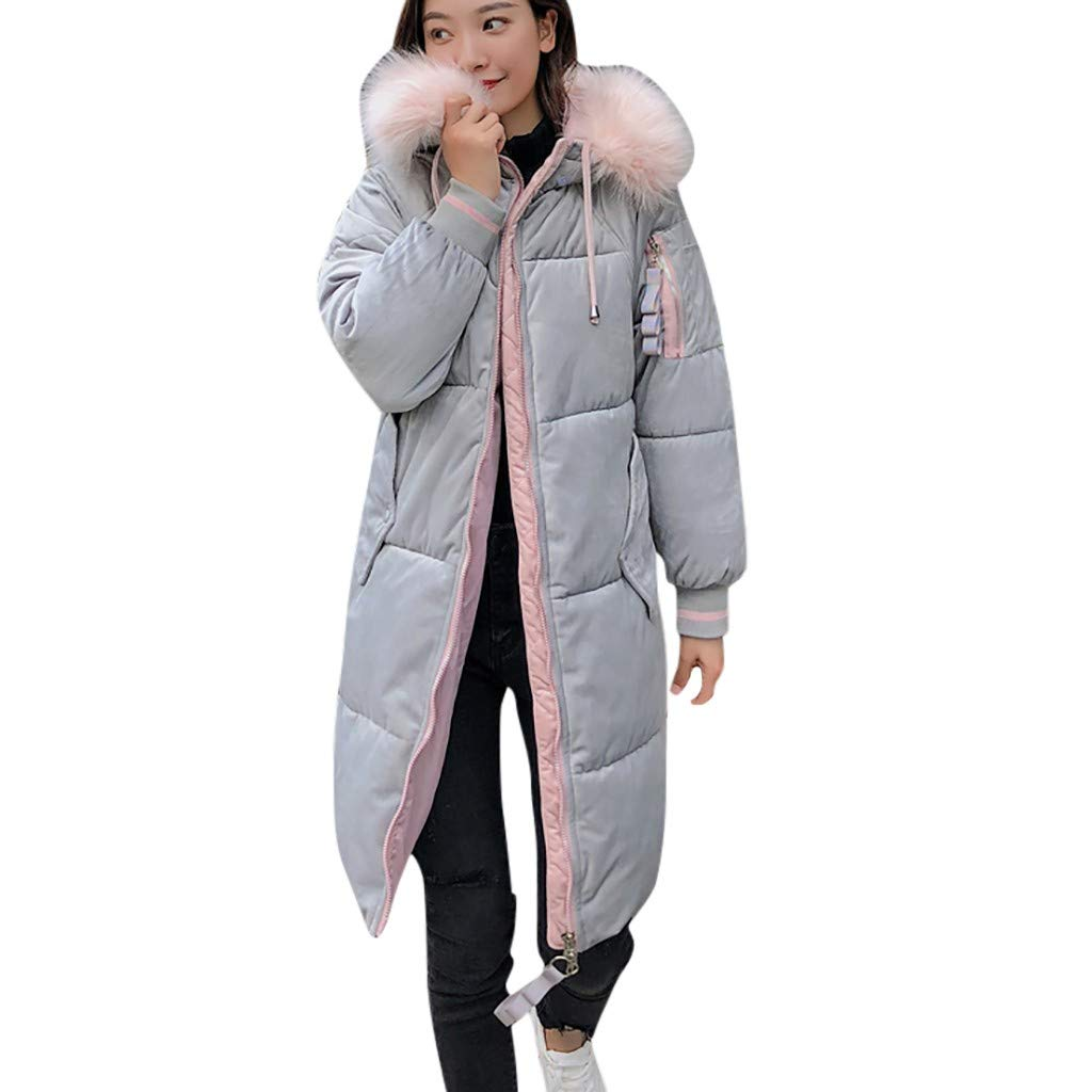 Fashionhe Women Hoodie Overcoat Warm Slim Outwear Knee Length Thick Trench Coats Solid Color Down Jacket(Gray.3XL) by Fashionhe