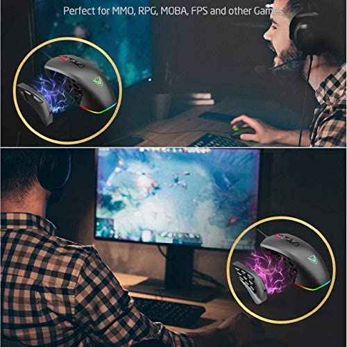 PICTEK Gaming Mouse Wired 24,000 DPI RGB Gaming Mice with 17-Programmable-Buttons, 4 Interchangeable Side Plate Programmable 3/9 Buttons, Palm/Claw Grip Ergonomic for Laptop/PC Gamer 51tE3pXjyGL