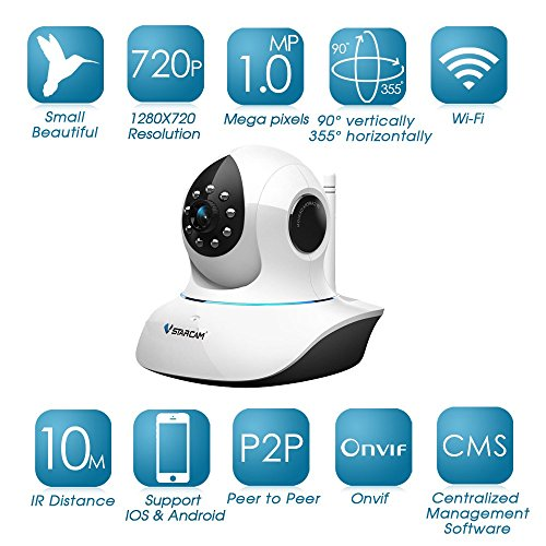 VStarcam C7838WIP HD WPS / P2P Wireless Onvif IP Camera WIFI 720P Two Way Audio and TF Card Slot Security CCTV Cameras by HAMSWAN For Sale