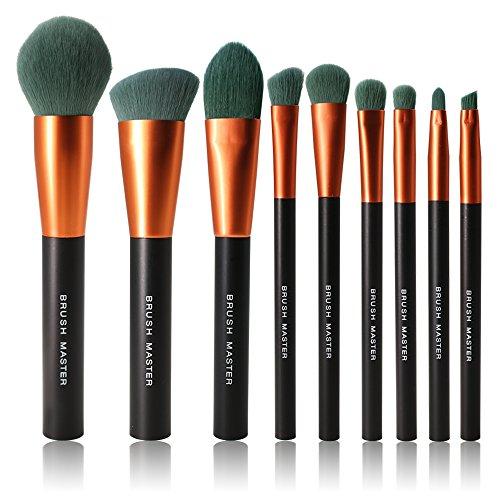 BM Brush Master 9 Pieces Professional Makeup Brushes Premium Makeup Brushes Set Synthetic Kabuki Beauty Brush Blush Concealer Foundation Powder Eyeshadow Cosmetics Tools Golden Black
