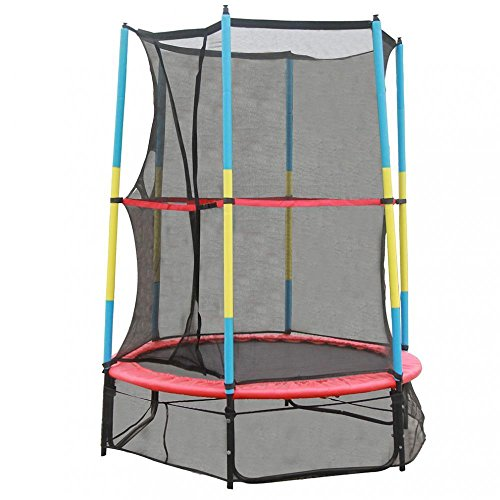 BestMassage 55 inch Round Trampoline With Safety Pad Enclosure Combo for Kids by BestMassage