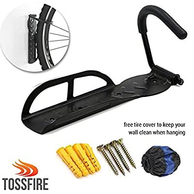 Hanging Bike Rack | Heavy Duty 1 Pc Steel Wall Mount Bicycle Hanger Bike Holder | Space Saving Storage for Home Garage Shed | Easy To Install Mounting | Tire Cover Included To Prevent Wall Stain …