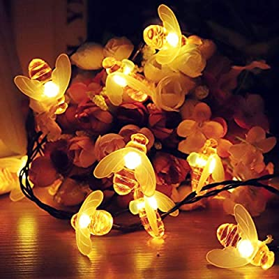 Kawell Solar String Lights 8 Model 30 LEDs Honey Bee String Lights Starry Fairy Lights for Outdoor Garden Patio Trees Flower Fence Grass Lawn Landscape Holiday Decorations Warm White