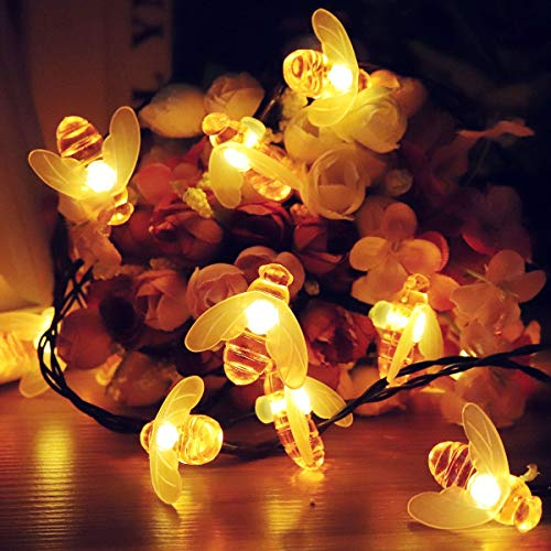 Kawell Solar String Lights 8 Model 30 LEDs Honey Bee String Lights Starry Fairy Lights for Outdoor Garden Patio Trees Flower Fence Grass Lawn Landscape Holiday Decorations Warm White (Led Lights Holiday Living)