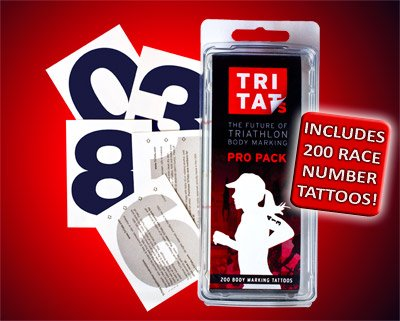 TriTats Pro Tattoo, Pack of 200 (Black, - Uniform Triathlon
