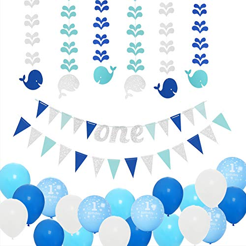 1st Birthday Boy Decorations Kit-Baby First Birthday Party Decorations-Blue/Silver one Birthday Banner,Glitter Hanging Whales-Number One Balloon-Blue,Light Blue and White Balloons by PinkBlume. (Whale Decorations)