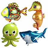 AnnoDeel 4 pcs Large Sea Animal Balloons, 38inch Cartoon Sea Horse Balloon/Octopus Balloon/Shark Balloon/Tropical Fish Balloons for Kid Birthday Party Decorations