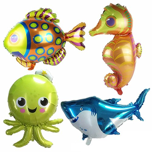 (AnnoDeel 4 pcs Large Sea Animal Balloons, 38inch Cartoon Sea Horse Balloon/Octopus Balloon/Shark Balloon/Tropical Fish Balloons for Kid Birthday Party)
