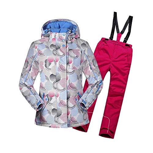 女の子防風防水暖かいスノーシューズフード付きスキージャケットパンツ2個セット (色 : 赤, サイズ : 134) 赤