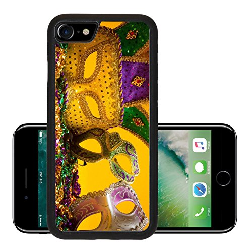 Luxlady Premium Apple iPhone 7 Aluminum Backplate Bumper Snap Case iPhone7 IMAGE ID: 26091100 A festive colorful group of mardi gras or carnivale mask on a yellow Venetian masks - Carnival Costume Ideas For Groups