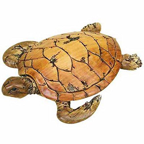 Sherry Wood Finish - Sea Turtle Loggerhead Carved Wood Appearance Nautical Decor