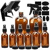 Glass Spray Bottle, ESARORA Clear Glass Spray Bottle Set For Essential Oils - Cleaning Products - Aromatherapy (16OZ x 2, 4OZ x 2, 2OZ x 4)