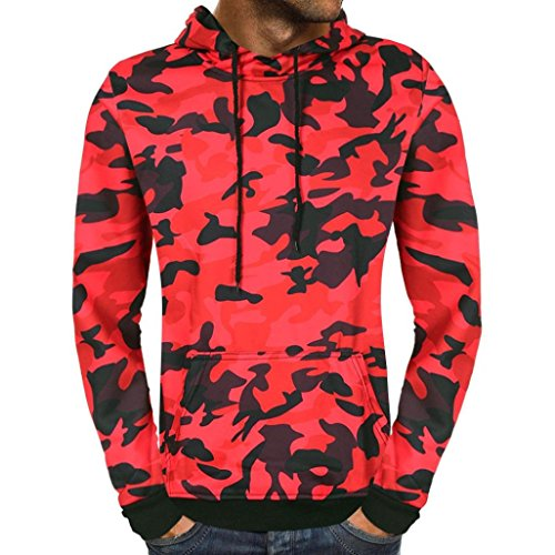 vermers Big Promotion! Men's Autumn Camouflage Hooded Sweatshirt - Mens Fashion Casual Long Sleeve Outwear Tops(M, Red)