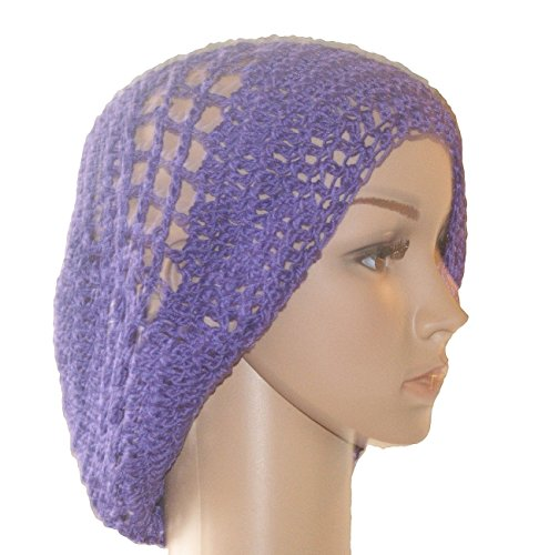 Hat Woman, Slouchy Hat, Purple Cotton Crochet Summer Cloche, Tam, Slouchy Beanie