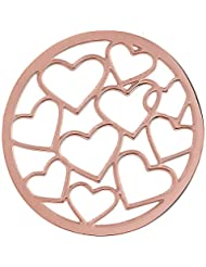 MS Koins Stainless Steel Multi Heart Coin Rose Gold Plated Fits Our Coin Locket System, 30mm Diameter