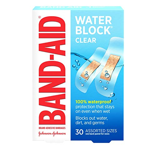 Band-Aid Brand Water Block Plus Waterproof Clear Adhesive Bandages for Minor Cuts and Scrapes, 30 ct (6 Pack)