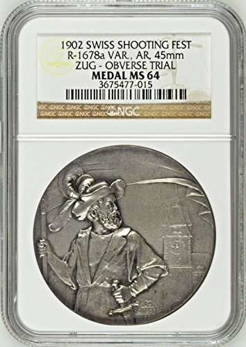 1902 unknown Swiss 1902 Silver Shooting Medal Zug Reverse Tria coin Good