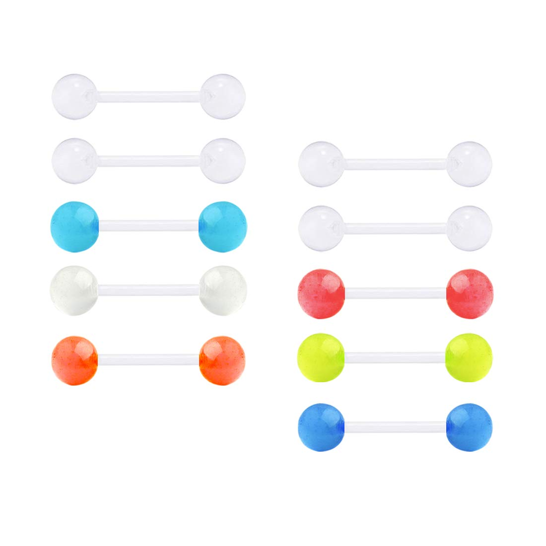 MODRSA 14G Clear Curved Barbell Retainers Belly Button Rings Plastic Tongue Eyebrow Rings Flexible Navel Piercing Curved Bar Retainer for Work Surgery 12mm 14mm 16mm 18mm