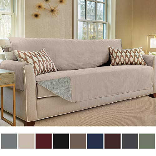Gorilla Grip Original Slip Resistant Oversize Sofa Slipcover Protector, Seat Width Up to 78 Inch Suede-Like, Patent Pending, 2 Inch Straps, Hook, Couch Cover for Kids, Dog, Pet, Oversized Sofa, Taupe