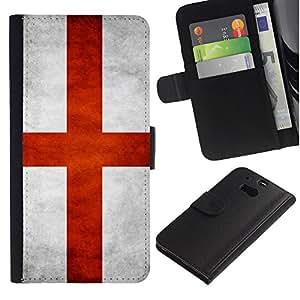 Billetera de Cuero Caso Titular de la tarjeta Carcasa Funda para HTC One M8 / National Flag Nation Country England / STRONG