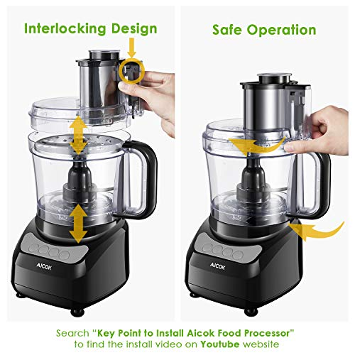 Food Processor 12-Cup, Aicok Food Processor Blender, Multi-Function Food Processor, 1.8L, 3 Speed Options, 2 Chopping Blades & 1 Disc, Safety Interlocking Design, 500W