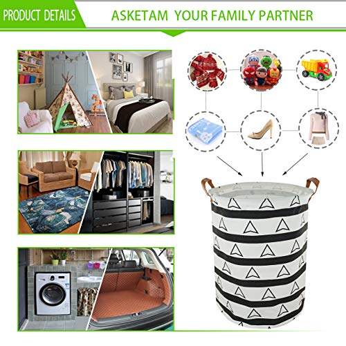 ASKETAM Laundry Basket,Canvas Fabric Laundry Hamper,Dirty Clothes Storage Bin,Collapsible Toy Organizer for Office,Bedroom, Clothes,Toys,Gift Basket (Stripe Triangle)