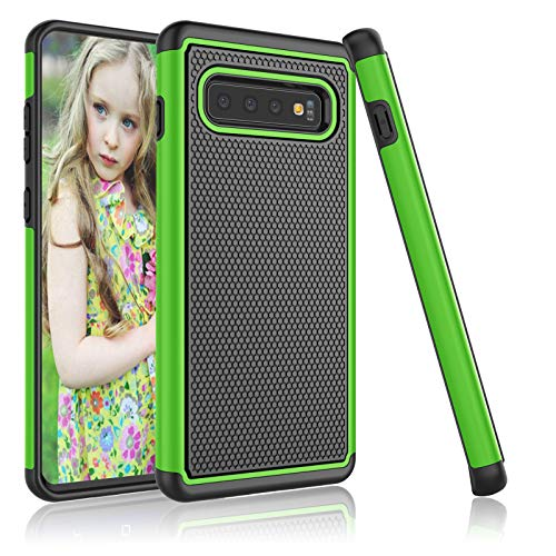Njjex Galaxy S10 Plus Case, for 2019 Samsung Galaxy S10+ S10 Plus Case, [Nveins] Hybrid Dual Layers Hard Plastic Back + Soft Silicone Rubber Armor Defender Shockproof Slim Phone Case Cover [Green]