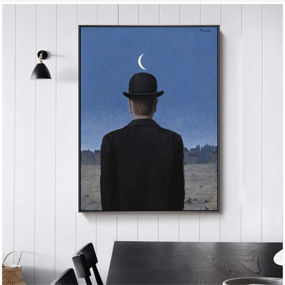 Amazon Co Jp キャンバスウォールアート 3x60x80cmフレームなし男の息子ルネ マグリット油絵アートポスターとプリントシュルレアリスムアート写真家の装飾 ホーム キッチン