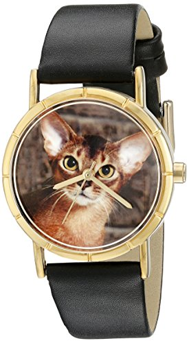 Whimsical Watches Kids' P0120033 Classic Abyssinian Cat Black Leather And Goldtone Photo Watch