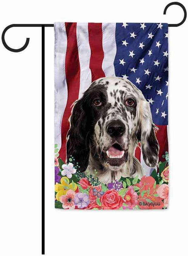 BAGEYOU American Flag with My Love Dog English Setter 4th of July Patriotic Decoraive Garden Flag for Outside Colorful Flowers Summer Home Decor Banner 12.5X18 Inch Printed Double Sided