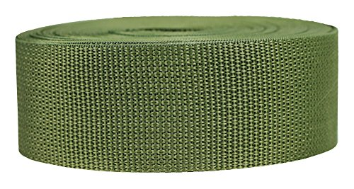 Strapworks Lightweight Polypropylene Webbing - Poly Strapping for Outdoor DIY Gear Repair, Pet Collars, Crafts - 2 Inch x 10 Yards - Olive Drab ()