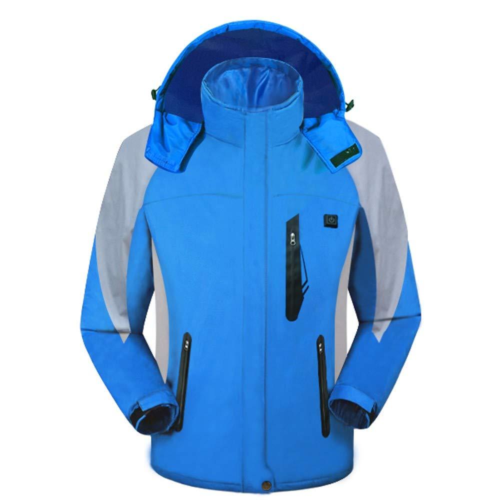 Softshell Beheizbare Jacken ZHANSANFM Herren USB Smart Elektrische Heizung Baumwolljacke Wasserdicht Winddicht warm Kapuzenjacke Wintermantel für Winter ski Wandern Camping Angeln (S, Blau)
