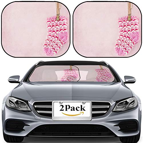 MSD Car Sun Shade for Windshield Universal Fit 2 Pack Sunshade, Block Sun Glare, UV and Heat, Protect Car Interior, Baby Girl Woolen Socks on Textured Pastel Pink Background Photo 18227332