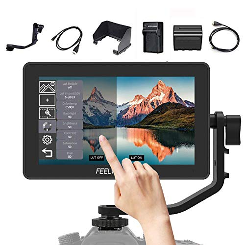 FEELWORLD F6 Plus 5.5 inch Touch Screen DSLR Camera Field Monitor,3D Lut Small Full HD 1920x1080 with 4K HDMI 8.4V DC Input/Loop Output Include F550 Battery + Charger
