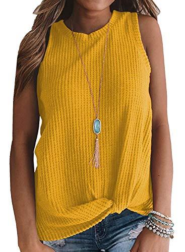 (Womens Crew Neck Tank Tops Waffle Knit Sleeveless Shirts Tie Knot Tanks Plain Tunics Yellow XXL)