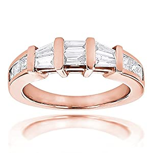 Ladies Ring 14k Gold Baguette and Princess Cut Diamond Wedding Band 0.9ctw (Rose Gold, Size 9)