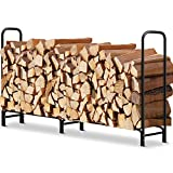 AMAGABELI GARDEN & HOME lograck02 8ft Outddor Firewood Log Rack, 8 Feet, Black