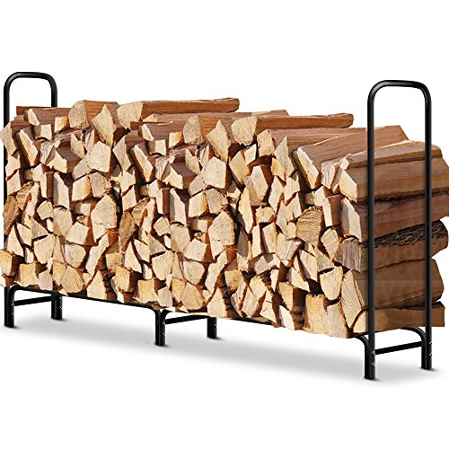 8 ft Outdoor Fire Wood Log Rack for Fireplace Heavy Duty Firewood Pile Storage Racks for Patio Deck Metal Log Holder Stand Tubular Steel Wood Stacker Outside Fire place Tools Accessories Black (Stock Fireplace Door)