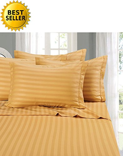 Stripe Gold Bed - Elegant Comfort #1 RATED Bed Sheet Set on Amazon - Silky Soft - 1500 Thread Count Egyptian Quality Luxurious Wrinkle, Fade, Stain Resistant 6-Piece STRIPE Bed Sheet Set, King Gold